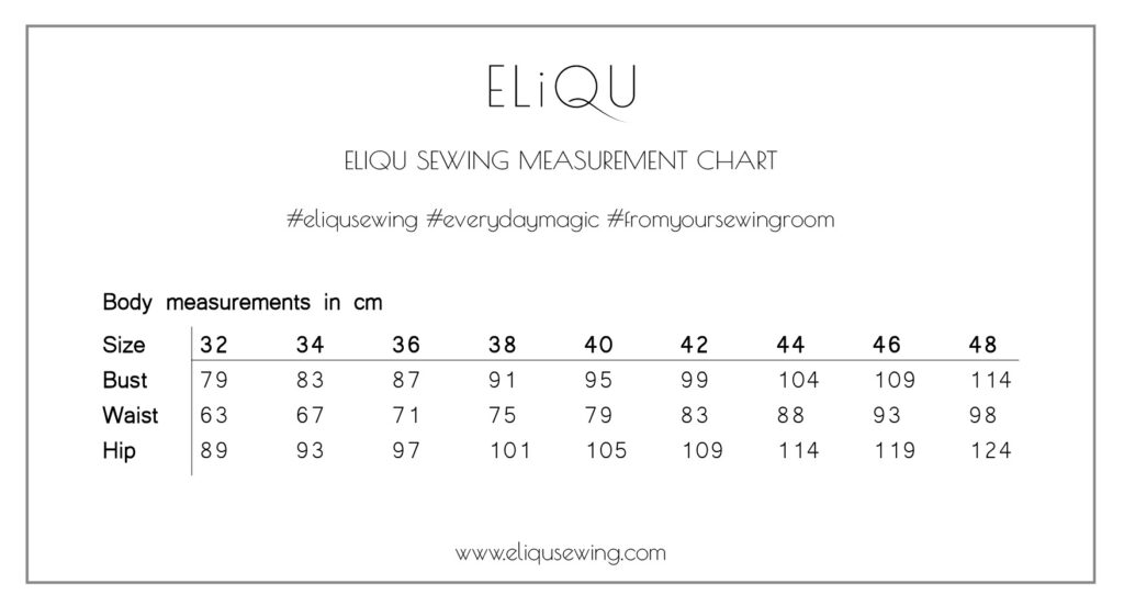 ELiQU Sewing Measurement Chart
